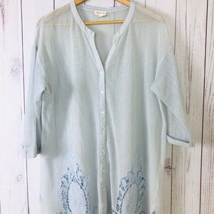 Meadow Rue Blouse 3/4 Sleeves Button-Down Mesh